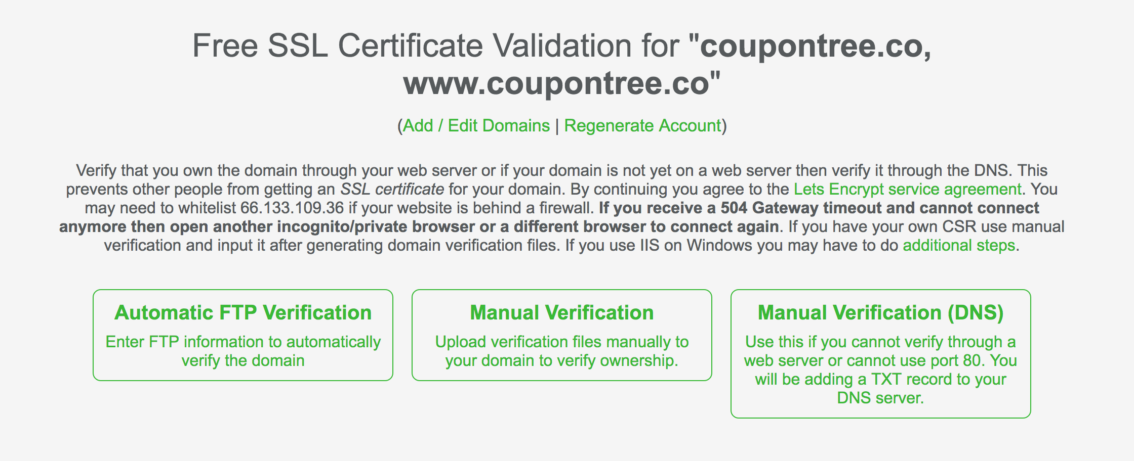 How to active lets encrypt when cpanel does not support coupontree automatic ftp verification enter ftp information to website automatically confirm domain name xflitez Choice Image
